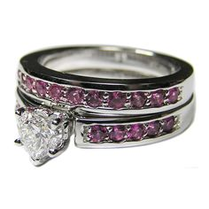 Heart Shape Diamond Engagement Ring with channel set pink sapphires