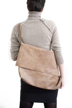 large leather fold-over bag