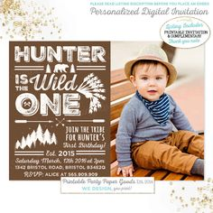 Wild One Birthday Invitation Into The Wild by PixelPerfectionParty