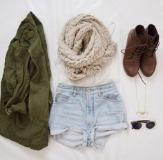 scarf, shorts,  and boots
