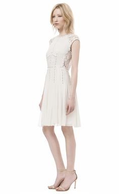 Cap Sleeve Dress With Lace Inset And Nailheads | Rebecca Taylor