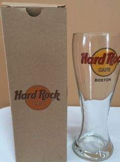 Hard-Rock-Cafe-Tall-Pilsner-Glass-Boston-MA-With-Box-Collectible