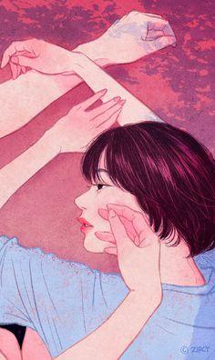 Zipcy art- touch you cheek. Cute Couple Cartoon, Cute Couple Art, Anime Love Couple, Cute Anime Couples, Anime Couples Drawings, Couple Drawings, Art Drawings, Aesthetic Anime, Aesthetic Art