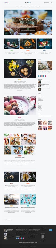Creatink is clean and modern design 40+ responsive multipurpose WordPress template for #food #recipe #bloggers, photographer agency portfolio, #photography, personal blog or any other purpose #website to live preview & download click on image or Visit