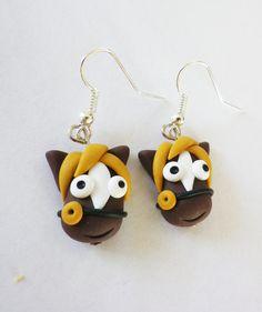 Boucles d'oreilles, boucles d'oreilles enfant cheval marron est une création orginale de fimorelie sur DaWanda