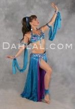 $649.95 BOTANIC BUTTERFLY FANTASY in Turquoise, Royal Blue and Violet by Designer Pharaonics of Egypt, Egyptian Belly Dance Costume from dahlal.com
