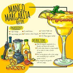 Margarita Ingredients, Smoothie Ingredients, Margarita Recipes, Vegetarian Smoothies, Fruit Smoothie Recipes, Summer Drink Recipes, Cocktail Recipes, Cube Recipe, Recipe Drawing