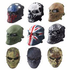 Tactical Airsoft de La Cara Llena de Protección de Malla Metálica Máscara de Calavera para BB Juego de Paintball CS Ejército Cosplay Fiesta de Halloween Al Aire Libre