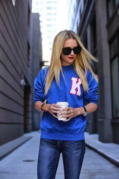 this preppy sweatshirt would be a super easy DIY