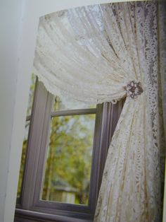 Lace curtains will add a more feminine touch to this nursery LOVE!!!