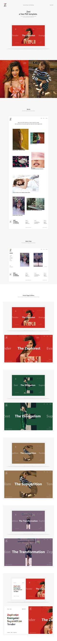 Zest: A free PSD template for photography. This is a new, clean, minimalist and modern UI Kit with Home, Menu, Works and Work View Pages . You can see how clear and colorful it is!