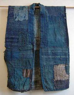 A Patched and Stitched Indigo Dyed Sakiori Vest Shibori, Sashiko Embroidery, Japanese Embroidery, Embroidery Books, Embroidery Stitches, Hand Embroidery, Boro Stitching, Visible Mending, Embroidered Bomber Jacket