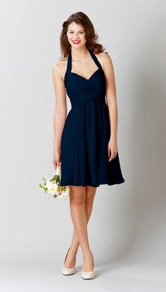 Easy to love for a reason, Kennedy Blue bridesmaid dress Lucy is the perfect choice for your big day. A halter bridesmaid dress with style you will love!