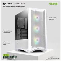 Gaming Desktop Case, Pc Components, Drive Bay, Side Window, Computer Accessories, Tower, Mesh, Glass, Rook