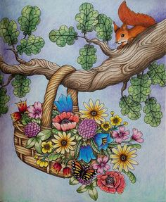 Done :-) #blomstermandala #mariatrolle #coloring #coloringbook #adultcoloringbook #adultcoloring #pencils #fabercastell #polychromos #squirrel