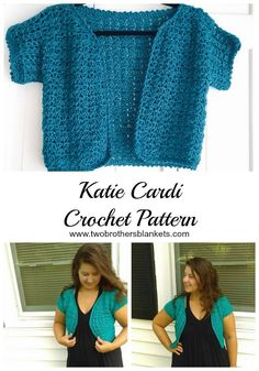 Katie Cardigan Crochet Pattern - Two Brothers Blankets - - The Katie Cardi crochet pattern is a beautiful spring cardigan that comes in adult and child sizes! The adult sizes go up to size Lace Shrug, Crochet Patterns For Beginners, Knitting Patterns Free, Sewing Patterns, Crochet Bolero Pattern, Crochet Baby Cardigan, Crochet Sweaters, Crochet Shrugs, Pineapple Crochet