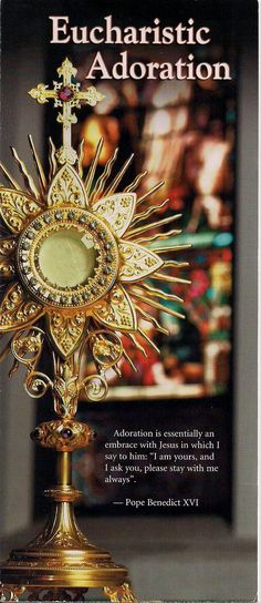 Over 100 benefits to Eucharistic Adoration.  #1. Every Holy Hour we make so pleases the Heart of Jesus that it is recorded in Heaven and retold for all eternity! (Blessed Mother Teresa of Calcutta)  #2.The spiritual lives of our families are strengthened through our Holy Hour. (Blessed John Paul II)  #3.A Holy Hour of prayer before the Blessed Sacrament is so important to Jesus that a multitude of souls go to Heaven who otherwise would have gone to hell. (Jesus revelation to Blessed Dina…