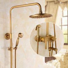 Antique Brass Rainfall Shower Head Bathroom Shower Set With Bidet Tap TAS1198