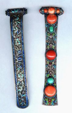 Mongolia | Two hairpins/sticks; silver, coral, turquoise and enamel | ca. 19th or very early 20th century |(archives sold Singkiang) collection Truus and Joost Daalder