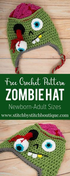 Crochet Patterns Hat Join the Zombie outbreak for Halloween with this new FREE crochet hat pattern Crochet Kids Hats, Crochet Beanie, Crochet Crafts, Knit Crochet, Yarn Crafts, Crocheted Hats, Kids Crochet Hats Free Pattern, Crochet Hat Sizing, Crochet Socks