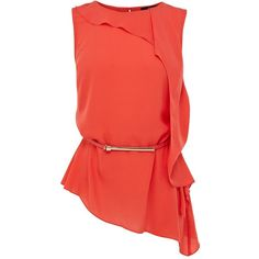 Oasis Roxanne frill belted top ($63) ❤ liked on Polyvore