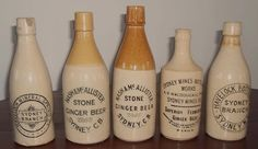 Ginger Beer Bottles - Ordinary as they are, these old bottles have such style. Modern plastic soft-drink bottles may be a much brighter, but they feel much less human. Antique Bottles, Bottles And Jars, Drink Bottles, Beer Bottles, Antique Stoneware, Stoneware Crocks, Cape Breton, Soda