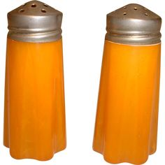 Vintage Pair Butterscotch BAKELITE Salt and Pepper Shakers found at www.rubylane.com @rubylanecom