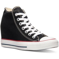 Converse Women's Chuck Taylor Lux Casual Sneakers from Finish Line ($35) ❤ liked on Polyvore featuring shoes, sneakers, black, converse, vintage wedge shoes, black wedge sneakers, black wedge heel sneakers, vintage shoes and converse trainers