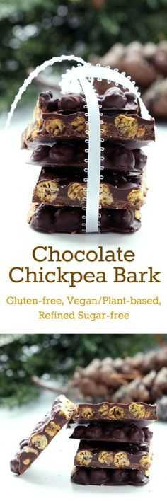 Recipe: Chocolate Chickpea Bark (Gluten-Free, Vegan / Plant-Based, Refined Sugar-Free) Chocolate Chickpea Bark has it all: sweet and salty, soft and crunchy. A complete taste and texture experience! You will be hooked from the very first bite. Low Carb Dessert, Vegan Dessert Recipes, Whole Food Recipes, Free Recipes, Sugar Free Chocolate, Vegan Chocolate, Chocolate Recipes, Chocolate Chocolate, Chocolate Covered