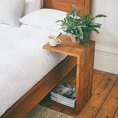 Sumatra Over Arm Side Table- Sumatra Over Arm Side Table Our Sumatra side tables are handmade by artisans from rustic reclaimed teak in Indonesia. Diy Furniture Table, Simple Furniture, Repurposed Furniture, Bedroom Furniture, Home Furniture, Furniture Design, Bedroom Decor, Side Tables Bedroom, Bedside Tables
