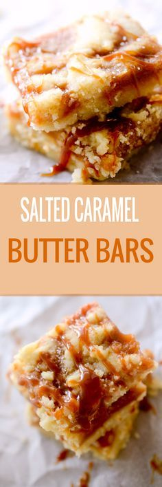 Salted Caramel Butter Bars These Salted Caramel Butter Bars are incredibly easy! A buttery shortbread crumble surrounds a salted caramel filling for the perfect salty-sweet dessert! Just Desserts, Delicious Desserts, Dessert Recipes, Yummy Food, Bar Recipes, Caramel Recipes, Recipies, Carmel Desserts, Salted Caramel Desserts