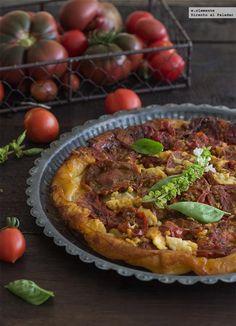 Tarta tatin de tomates y queso fresco de cabra. Receta con fotos del paso a paso y sugerencias de presentación. Consejos de elaboración. Recetas ...