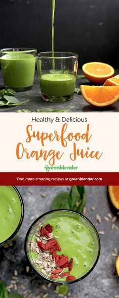 Superfood Orange Juice on Green Blender