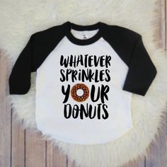 Kids Donut Toddler Black Baseball Sleeve Raglan Shirt, Sprinkles, Girls and Boys Toddler Clothing by KyCaliDesign on Etsy
