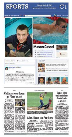 Upper Perkiomen's Mason Cassel was named the 2013 boys swimmer of the year.