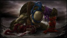 Artist Joao Pires has created a series of wrenching portraits of the Teenage Mutant Ninja Turtles facing their final battle. In each illustration, one of the bruised and battered turtles mourns his fallen brothers.