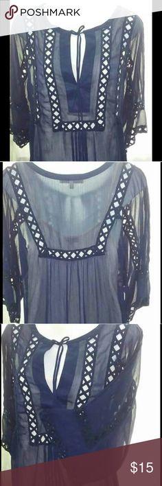 Top Sheer navy blue blouse with bell sleeves Daniel Rainn Tops Blouses
