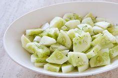 Cucumber Salad Recipe with 40 calories. Includes cucumber, fresh dill, seasoned rice wine vinegar, salt, pepper.