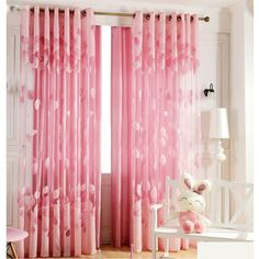 Brief Navy Blue Blackout Living Room Ready Made Striped Curtains Romantic Pink Sheer Curtains Cheap For Girls Room Pink Sheer Curtains, Polka Dot Curtains, Cute Curtains, Elegant Curtains, Striped Curtains, Curtains With Blinds, Girls Bedroom Curtains, Pink Bedroom For Girls, Curtains Living