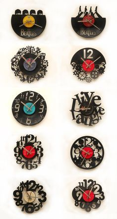 Relojes Corte Láser sobre Discos de Vinílo / Laser Cutting Vinyl Disc Wall Clocks.
