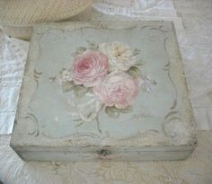 Debi Coules  – Shabby French Chic Art. Debi usually paints a small bud or ribbon, inside any boxes she paints, for a nice finishing touch.