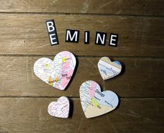 Super fun and nostalgic and easy to use handmade vintage atlas map heart stickers. Much easier than getting glue all over your fingers.Just peel and stick et voila!