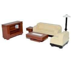LEGO Furniture: 6 Piece Seating Collection (Tan) - Couch, Table, Lamp, etc. #InteriorBricks