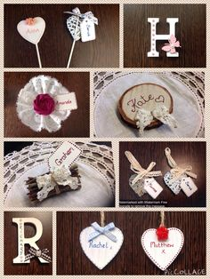 Handmade bespoke place settings from Lilly Dilly's #wedding #place #name #heart #letter #rustic #wood #lace #bespoke #handmade