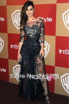 Celebrity Dresses 2013 Sexy Black Tulle Applqiues See Through Floor-length Celebrity Gowns Prom Evening Dress Red Carpet $149.95