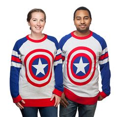 A warm and cozy Captain America sweater in unisex styling, so that all patriots can pay homage to Cap! Iconic shield design on the front, and red-white-and-blue striped raglan sleeves, red cuffs and collar, 100% cotton pullover sweater.