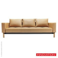 Cassius Q Deluxe Sofa Nubucko in Oak Base | innovation Living $1,873.00 -  is a full size sofa is upholstered in polyurethane textile and features Icomfort Excess 7-inch mattress and includes three cushions. #InnovationLiving #Sofa