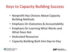 Keys to Capacity Building Success <ul><li>Nonprofit Has Choices About Capacity Building Methods </li></ul><ul><li>Emphasis... Capacity Building, Keys, Choices, House Plans, Success, How To Plan, Words, Key, House Floor Plans