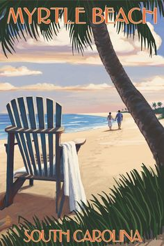 Myrtle Beach, South Carolina - Adirondack and Palms (36x54 Giclee Gallery Print, Wall Decor Travel Poster) ** Review more details here : Kitchen Table Linens