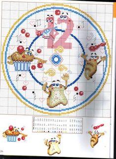 Schema punto croce Orologio Cibo 1b